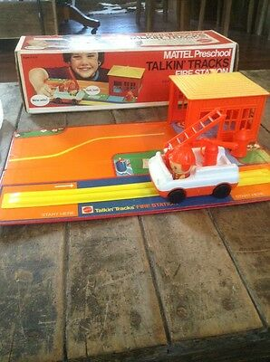 Vintage VERY RARE 1973 Mattel 7068 Talkin Tracks Fire Station In Original Box