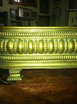 Vtg 1800's Ornate 4ft Fireplace Fender Surround Footed Egg Dart Brass 3