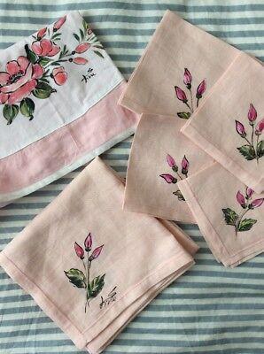 VTG Set Linen Hand Painted Flowers Square Topper Tablecloth Apron Napkins