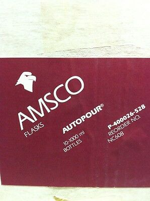 10 NEW AMSCO AUTOPOUR GRADUATED 1000ml GLASS BOTTLES NC608 Lab 5