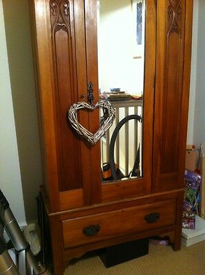 Wardrobe Vintage Art Nouveau Style Light Wood Mirror 2