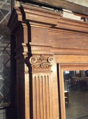 Enormous Carved Oak and Granite Fireplace Mantel with Mirror from Belgium #7713 3
