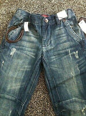 BNWTS Boys Jeans Marks & Spencer 7 Years Denim £16 Adjustable Waist Bow Leg 2