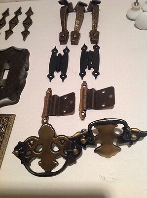 30 Piece Lot Assorted New (Vintage Looking) Hinges,Pulls Etc.,Brass Hardware
