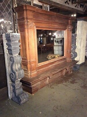Enormous Carved Oak and Granite Fireplace Mantel with Mirror from Belgium #7713 9