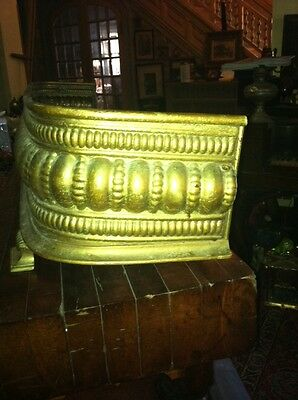 Vtg 1800's Ornate 4ft Fireplace Fender Surround Footed Egg Dart Brass 8