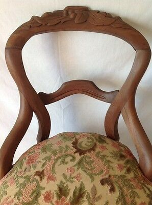 Antique Victorian Carved Balloon Back Chair Walnut w Chenille Upholstered Seat 2