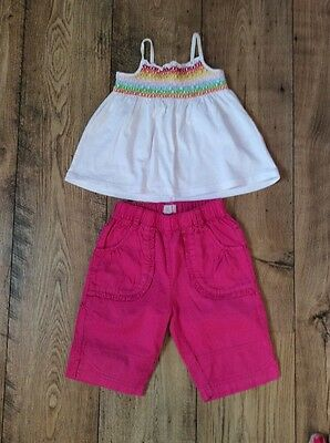 Pink Designer Cropped Trousers & White Smocked Top 2 Yrs 2
