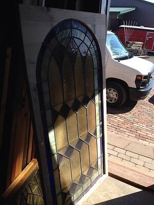 Antique Arch Top Stained Glass Window 33.25 X 63.25 High Sg 134 8