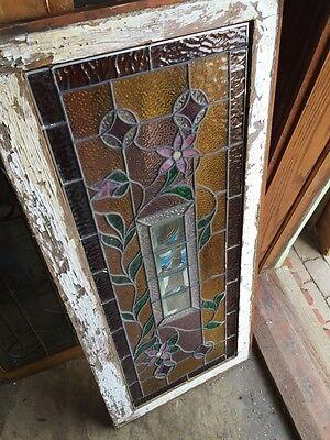 Sg 588 Antique Floral Vine Transom Window Beveled Glass Center 10