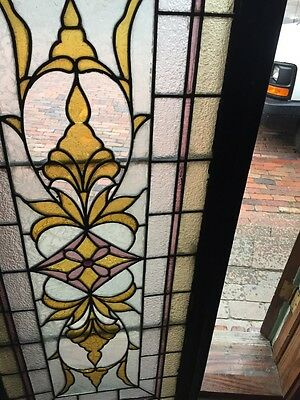 Sg 839 Antique Textured Glass Stained Transom Window 5