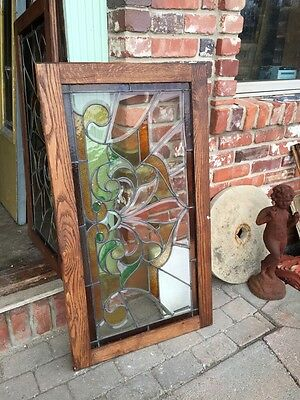 Sg 308 Two Available Price Each Antique Stained And Double Glass Transom Windows 8