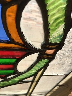 Sg 262 Antique Stained Glass Window Center Crest And Ribbon Design 7