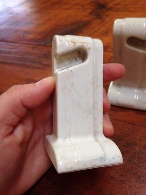 Vtg Antique Porcelain Art Deco Bathroom Towel Toilet Roll Brackets Set Various 3