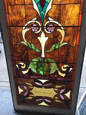 "Ca 11 Antique Stain Glass Window 36"" X 8' 4"