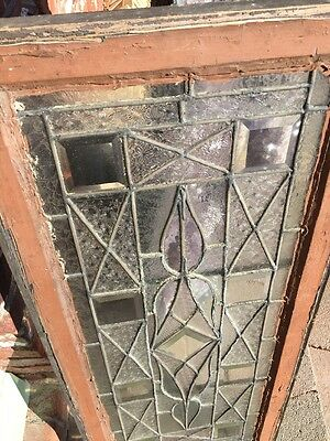 Sg 1221 Antique Beveled And Textured Glass Transom Window 18 X 41.75