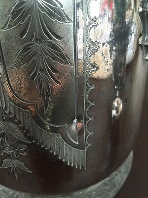 Antique Victorian Silver plate Tilting Water Pitcher with stand and goblet 6