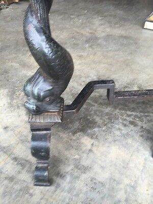 One Pair Rare Cast-Iron Dolphin Fireplace And Irons 11