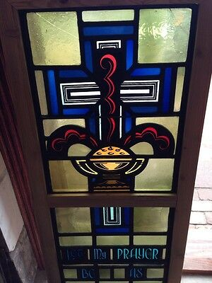 Sg 208 Antique Stained Glass And Painted And Fired Religious Window