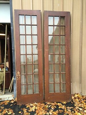 Pd1 Pair Antique Pine Wood Grain Interior French Doors Oversize 4
