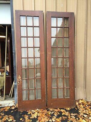 Pd1 Pair Antique Pine Wood Grain Interior French Doors Oversize 4