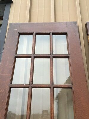 Pd1 Pair Antique Pine Wood Grain Interior French Doors Oversize 6
