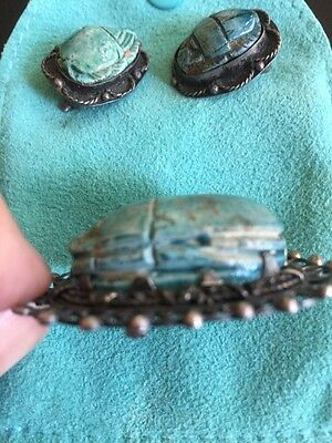 ANTIQUE EGYPTIAN SCARAB, Earrings &Brooch,Hieroglyphics, Handmade Silver Setting