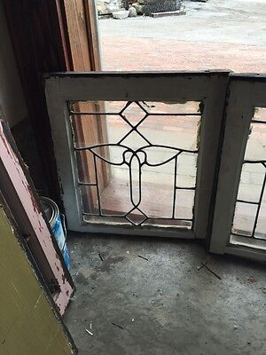 Sg 343 Matched Pair Antique Leaded Glass Windows 3
