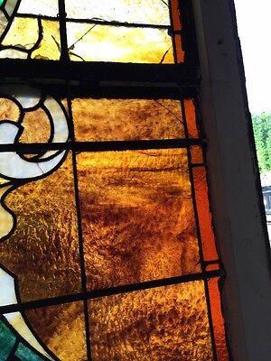 "Ca 11 Antique Stain Glass Window 36"" X 8'"