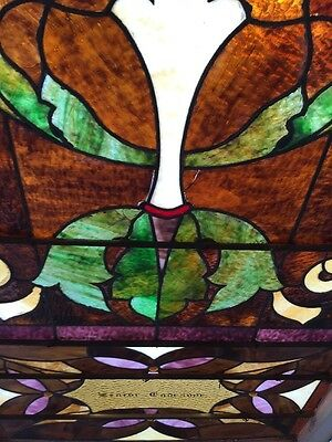 "Ca 11 Antique Stain Glass Window 36"" X 8' 10"