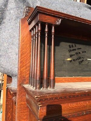 Bb3 Antique Spindle Carved Oak Fireplace Mantel Quartersawn 3