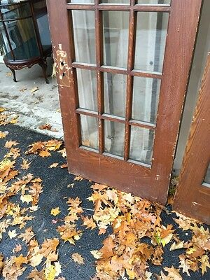 Pd1 Pair Antique Pine Wood Grain Interior French Doors Oversize 9