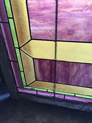 "Sg 283 Antique Stained Glass Geometric Window 21"" X 29"" 4"