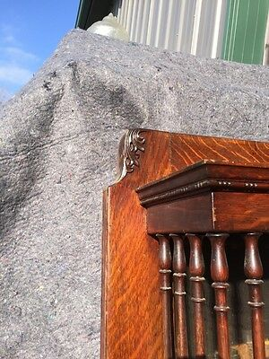 Bb3 Antique Spindle Carved Oak Fireplace Mantel Quartersawn 4
