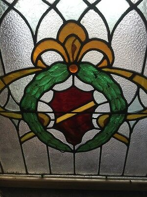 """Sg 496 Antique Stainglass Window With Wreath Design 22.25 X 25.25"""" 4"""