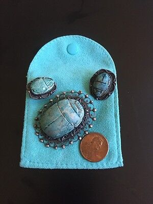 ANTIQUE EGYPTIAN Scarabs,  3pc, Sterling Setting, Rare, Hieroglyphics 10