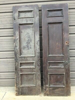 An 402 Antique Double Doors Set Raised Panel 51 X 87.5