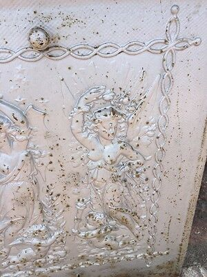 Antique Cast-Iron Figural Lady And Cherub Fire Front Plate 4