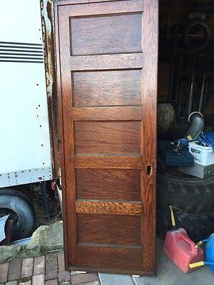 "A R 20 Antique Five Panel Single Oak Pocket Door 30"" X 84 4"