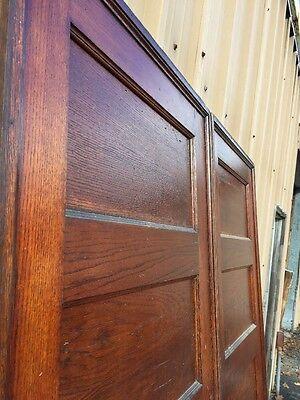 Cm 83 One Pair Antique Flat Panel Oak Pocket Doors 3