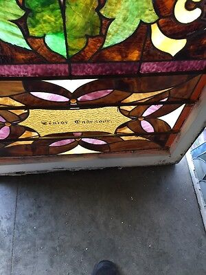 "Ca 11 Antique Stain Glass Window 36"" X 8' 11"