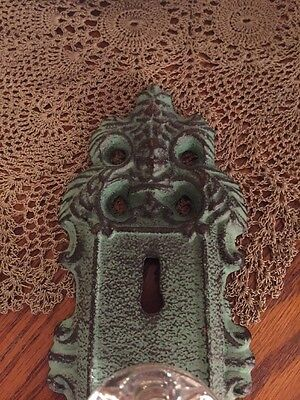 3 Cast Iron Door Plates With Acrylic/Glass Knob In Vintage Turquoise Teal Finish 4