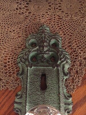 Cast Iron Door Plate With Acrylic/Glass Knob In Antique Turquoise/Teal Accent 4