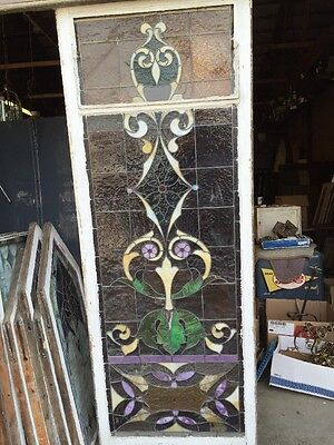 "Ca 11 Antique Stain Glass Window 36"" X 8' 12"