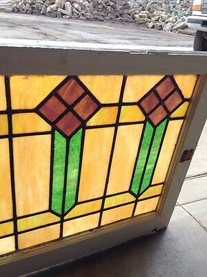 """Sg 56 Arts And Crafts Men Style Antique Stained Glass Window 421/2"""" Wx 25"""" H 4"""