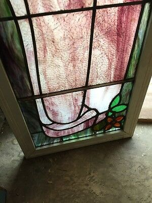 Sg 902 Antique Art Nouveau Transom Stainglass Window