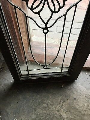 Sg 888 Antique Leaded Glass Floral Design Transom Window 4