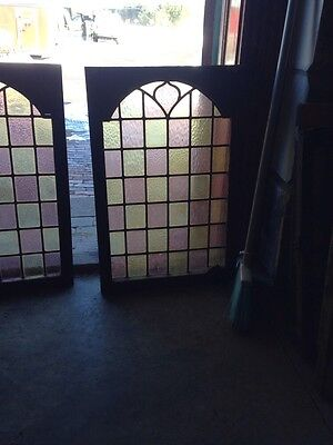 Sg 110 One Pair Antique Stain Glass Cabinet Doors With Nice Brass Hinges 3