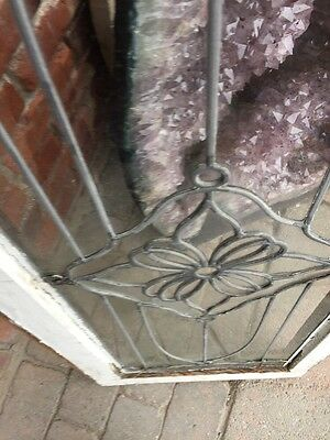 Sg 888 Antique Leaded Glass Floral Design Transom Window 8