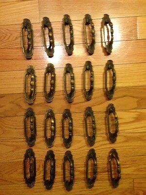 20 Vintage Antique Brass Door Handles With 2 Screws 8